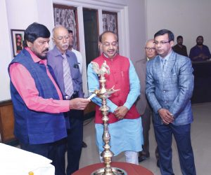 Lighting the Lamp Ceremony by Shri Ramdas Athawale